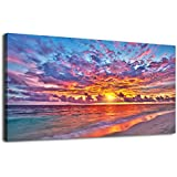 "Resplendent Sunset Beach Wall Art Living Room Bedroom Decoration Blue Sky With Red Clouds Nature Picture Large Landscape Canvas Art Ocean Wave for Home Office Wall Decor Framed Ready to Hang 20"" x 40"""