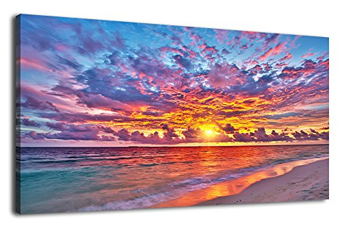 Resplendent Sunset Beach Wall Art Living Room Bedroom Decoration Blue Sky With Red Clouds Nature Picture Large Landscape Canvas Art Ocean Wave for Home Office Wall Decor Framed Ready to Hang 20