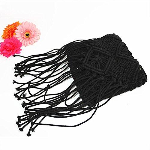 Borsa Made cotone Hand Ethno da Coolen Knitting a ghaekeln knittin frange Blue tracolla paglia Style corda Borsa lunghe di Bohemian spiaggia filo Donna x6fw6qS