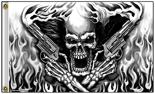 [Assassin Black and White Flaming Skeleton with Pistols Polyester 3x5 Foot Flag] (Flaming Skeleton)