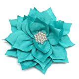 PEPPERLONELY 10PC Set Turquoise Flat Back Rhinestone Button Center Fabric Flowers, 3 Inch