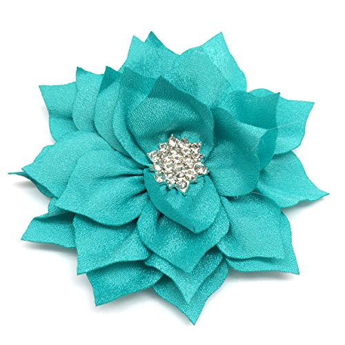 PEPPERLONELY 10PC Set Turquoise Flat Back Rhinestone Button Center Fabric Flowers, 3 Inch by PEPPERLONELY