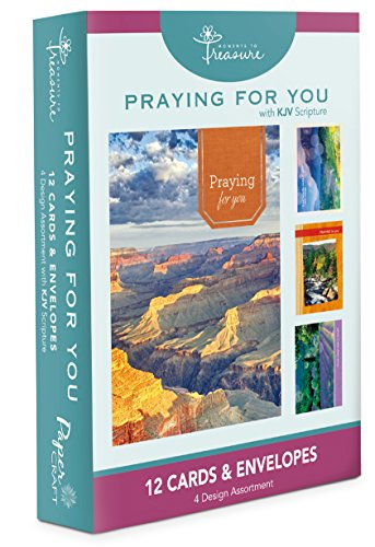 Gift Boxed Cards Scripture (12PK BOXED Praying For You CARDS Bulk WITH KJV SCRIPTURE – River Mountain Scenery Greeting Cards Thinking of You Sympathy)