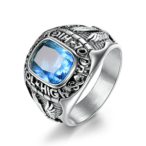 MASOP High School Eagle Synthetic Aquamarine Stones Stainless Steel Rings for Men Size 11 - Mens Class Rings