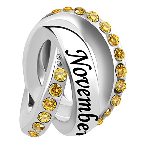 - Lifequeen Birthday Charms Jan-Dec Simulated Birthstone Trinity Ring Charm Beads for Bracelets (November)