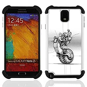 - bike motorcycle wheel tattoo ink art/ H??brido 3in1 Deluxe Impreso duro Soft Alto Impacto caja de la armadura Defender - SHIMIN CAO - For Samsung Galaxy Note3 N9000 N9008V N9009
