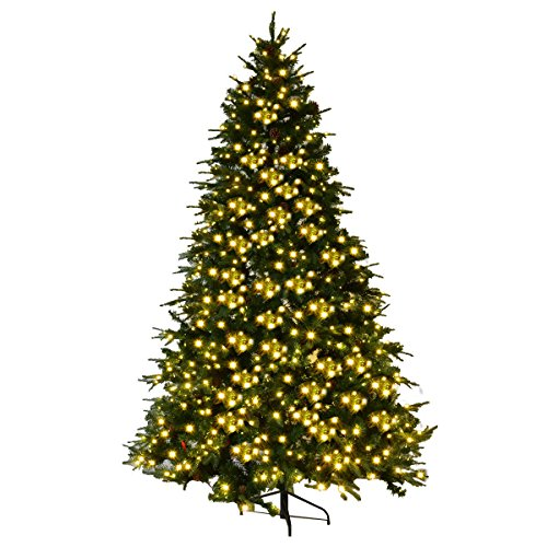 Goplus 7.5Ft Pre-Lit Artificial Christmas Tree Premium Spruce Hinged Tree w/ 540 LED Lights & Pine Cones by Goplus (Image #3)