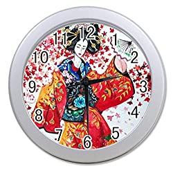 Dong Cun Bai Japanese Art Geisha Girl Psychedelic Background Personalized custom alarm clock for children bedroom Custom Wall Clock black Unique Custom Wall Clock