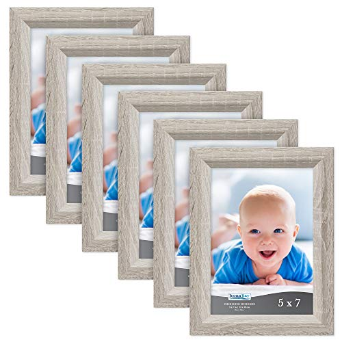 Icona Bay 5x7 Picture Frame (6 Pack, Heritage Gray Wood Finish), Gray Photo Frame 5 x 7, Composite Wood Frame for Walls or Tables, Set of 6 Cherished Memories Collection
