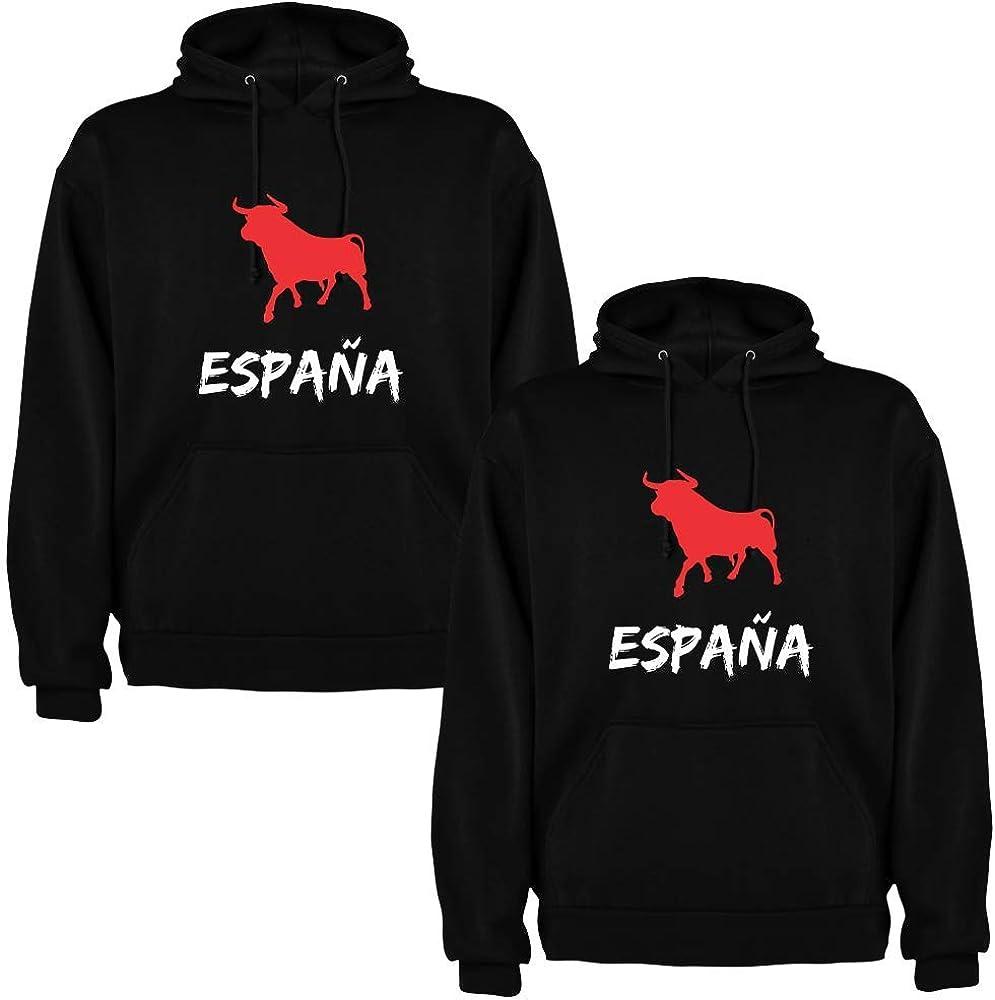 Pack de 2 Sudaderas Negras para Parejas Toro España Blanco/Rojo (Mujer Tamaño L + Hombre Tamaño S): Amazon.es: Ropa y accesorios