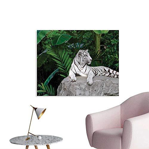 (Tudouhoho Safari Poster Paper White Tiger Setting on Stone Tropic Plants Leaves Wild Jungle Majestic Wallpaper Beige Green Light Grey W28 xL20)