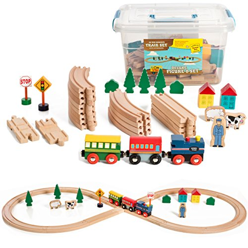 Deluxe Wooden Train Set - On Track USA Figure 8 Wooden Train Set, 35 Piece Deluxe Set- Comes in A Clear Container, Compatible with All Major Brands