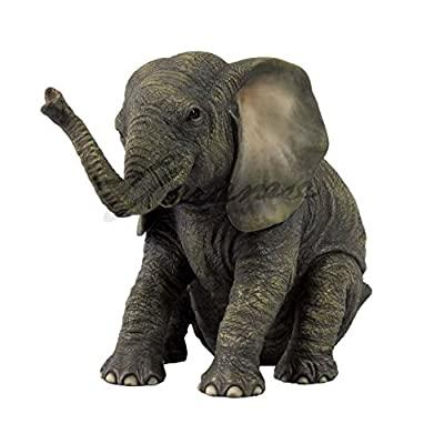 Veronese Design Sitting Baby Elephant Polystone Statue: Toys & Games