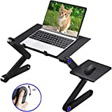 Adjustable Laptop Table Stand for Bed Sofa All Aluminium Alloy Standing Office Ergonomic Office Lap Desk Portable Lightweight Compatible Notebook Tablets with Adjustable Mouse Pad