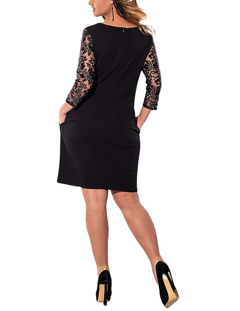 XUBA Vestido de Costura Simple de Cordón de Color Cuello Sólido de Cuello Color Redondo de Encaje de Gran Tamaño para Mujer fd95d2