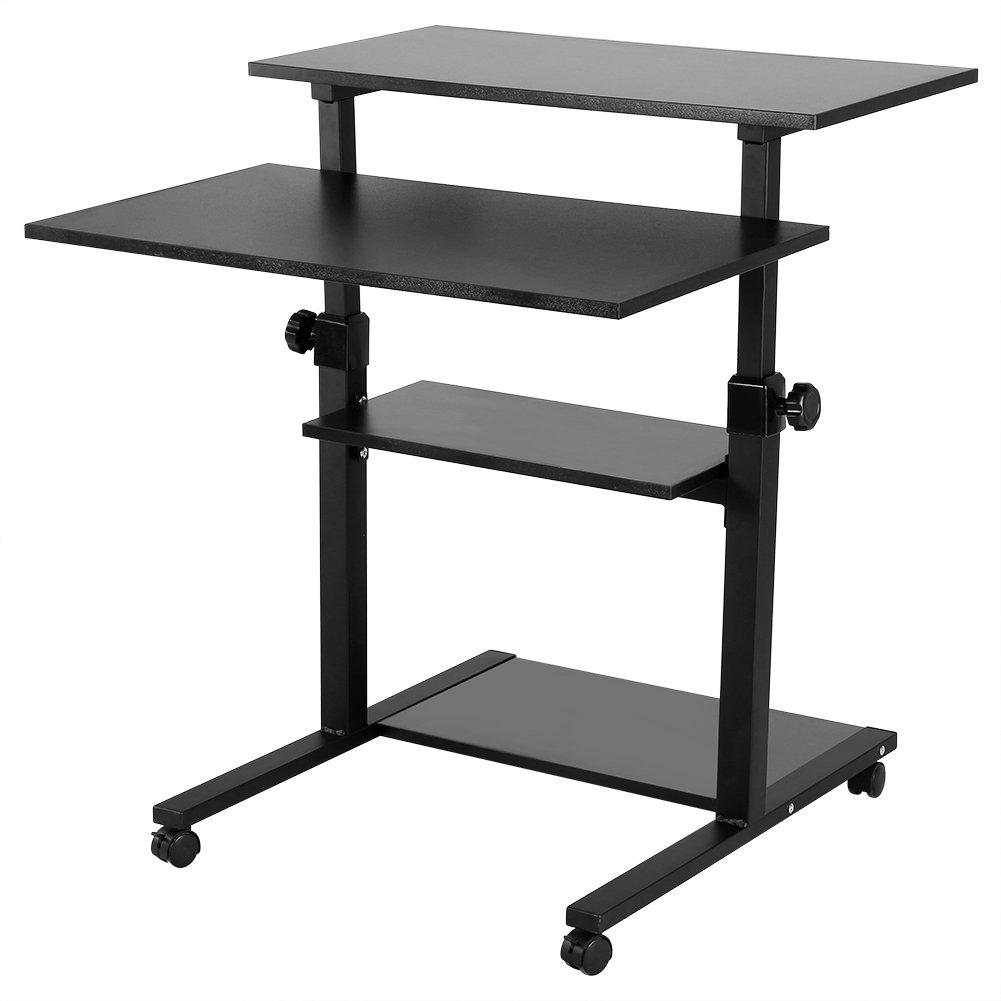 Computer Cart Desk, Mobile Height Adjustable Stand up Desk with Storage- Standing Mobile Computer Work Station Laptop Desk Adjustable Height Rolling Presentation Cart (Black)