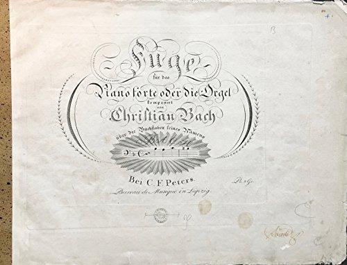 Bach, Johann Christian. (1735-1782): Fuge für das Pianoforte oder die Orgel über die Buchstaben seines Namens BACH. ()