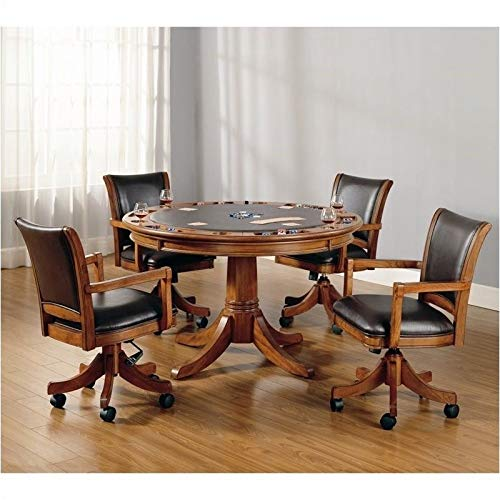 BOWERY HILL 5 Piece Game Set in Medium Brown Oak by BOWERY HILL