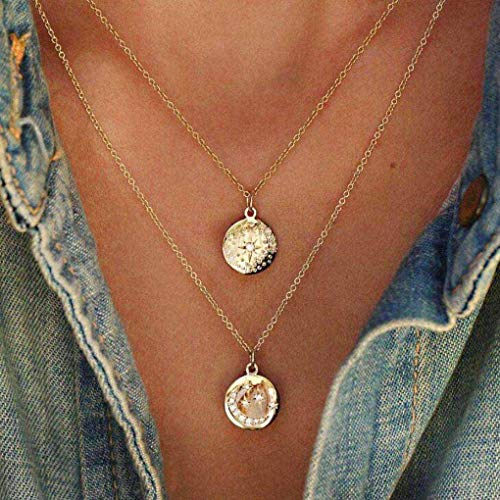 Yalice Double Layered Crystal Moon Star Necklace Chain Vintage Round Coin Necklaces Jewelry for Women and Girls