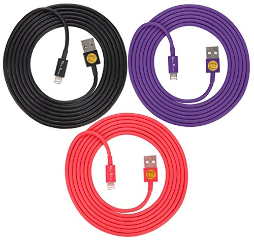 3-Pack of Superior Quality - Heavy Duty, 8-pin to USB, 2 Meter (6Ft) Lightning Charging Cables for Apple iPhone 5, 5C, 5S, iPhone 6, 6Plus, iPad 4, iPad Mini, iPod Touch 5 and Nano 7 (blk-purple-red)