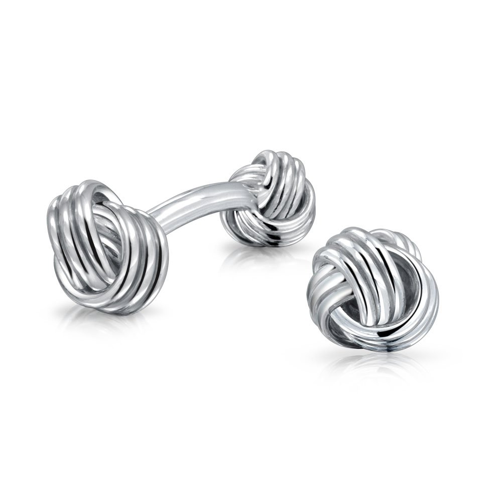 French Cufflinks Sterling Silver Love Knot Double Sided