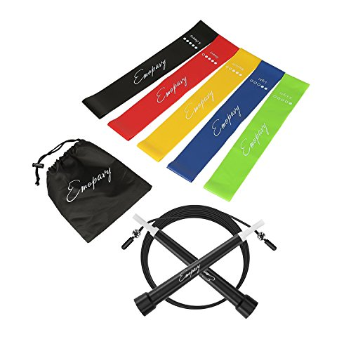 Emopavy Resistance Bands Exercise Bands Workout Bands Set of 5 with Jump Rope for Home Fitness Physical Therapy Yoga (Black) Review