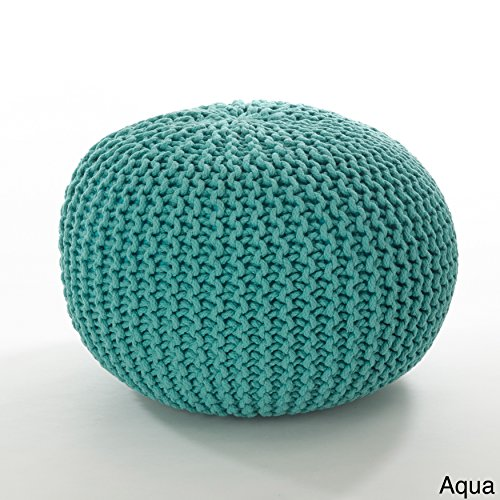 MISC Rope Ottoman, Aqua Blue Twisted Cotton Knit Lines Round Pouf Textured Footstool, Lightweight Durable Soft Knitted Circle Footrest Stool for Sitting Area Cottage Living Room, 14