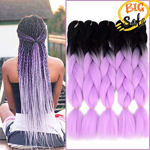 NAISIER Jumbo Braid Crochet Braids 2 Tone Ombre Color Hair Extension For Braiding Kanekalon Jumbo Box Braiding Hair,5 Pcs,24