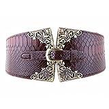 AWAYTR Women's Fashion Elastic Wide Belt Crocodile Leather Pin Buckle Retro Belt (Coffee)