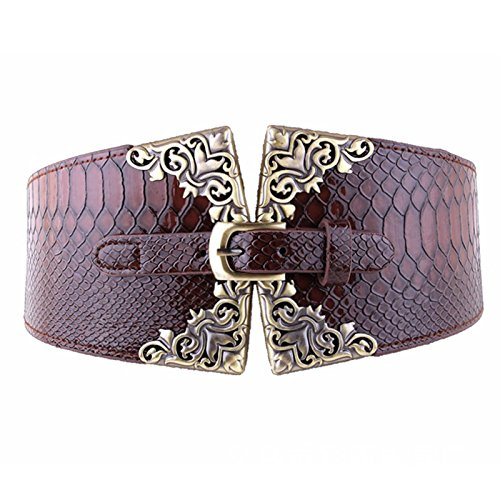 AWAYTR Women's Fashion Elastic Wide Belt Crocodile Leather Pin Buckle Retro Belt (Coffee)