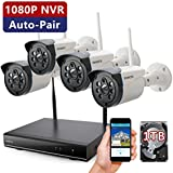 ONWOTE 1080P NVR 960P HD Outdoor Wireless Home Security Camera System with 1TB Hard Drive