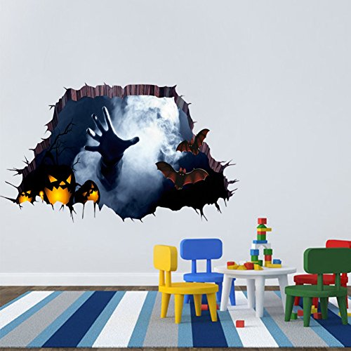 Smartcoco 3D vision DIY Creative Halloween Horror Ghost Wall Sticker Removable Scary Wall Decals Kid Room Living Room Bedroom Halloween Decor 17.7
