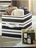 Better Homes and Gardens Collapsible Fabric Storage Cube - Black Stripe
