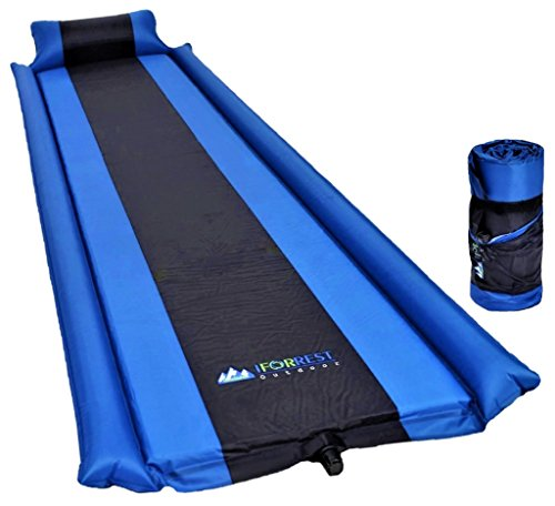 IFORREST Sleeping Pad with Armrest & Pillow - Ultra Comfortable Self-Inflating Foam Air Mattress is Ideal for Travel, Camping & Hiking, Backpacking, Cot, Hammock, Tent & Sleeping Bag! (Blue)