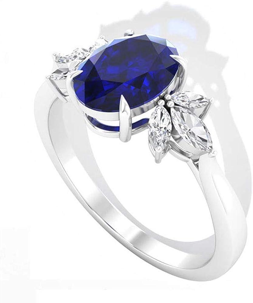 Anillo de compromiso de diamantes de zafiro azul antiguo de 1,55 ct, con certificado IGI de marquesa, anillo de aniversario de boda, piedra de nacimiento de septiembre