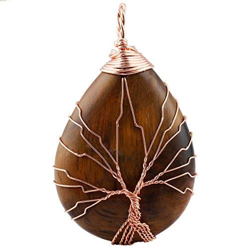 (SUNYIK Tiger's Eye Gemstone Teardrop Tree of Life Pendant Necklace,Handmade Copper Wire Wrapped Jewelry)