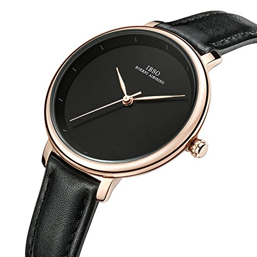 Women Simple Face Watches Leather Band Luxury Quartz Watches Girls Ladies Wristwatch Reloj De Mujer (Black) by IBSO BOERNI AIBISINO (Image #1)