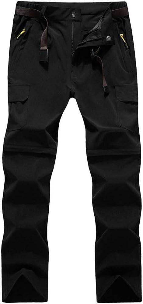 Pantalones unisex Pantalones desmontables convertibles Escalada verano ajustable Caminar resistente al agua Secado r/ápido Zip Off Pesca al aire libre Senderismo METRONegro macho