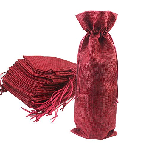 Luckkyme 12 Pack Burlap Wine Bag Wine Bottle Gift Bags Pouches with Drawstring for Wedding Party Favors Christmas Holiday and Wine Tasting Party (wine red)