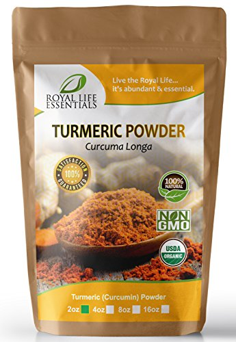 Turmeric Curcumin Curcuma Longa USDA Certified Organic Powder 2oz sampler of herbal natural raw supplements for asian, curry, indian spice dishes & recipes (Whole Foods 2017 Christmas Trees)