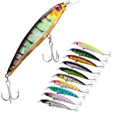 Sougayilang Minnow Fishing Lures Crankbaits Set Fishing Hard Baits Swimbaits Boat Topwater Lures for Trout Bass Perch Fishing-Style-E 10Pcs