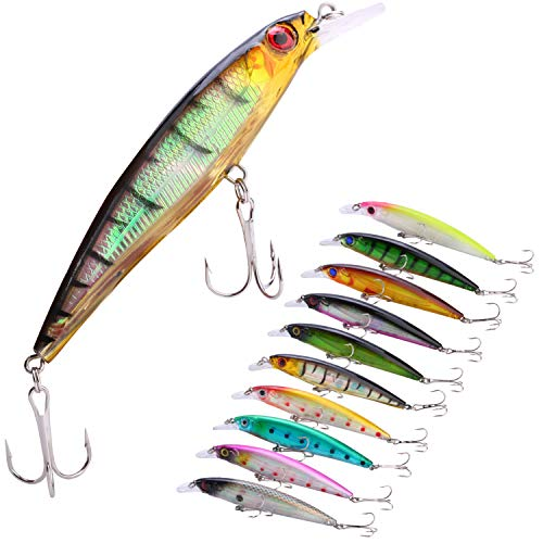 (Sougayilang Minnow Fishing Lures Crankbaits Set Fishing Hard Baits Swimbaits Boat Topwater Lures for Trout Bass Perch Fishing-Style-E 10Pcs)