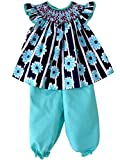 Carouselwear Girls Spring Summer Smocked Blue Dress With Turquoise Pants
