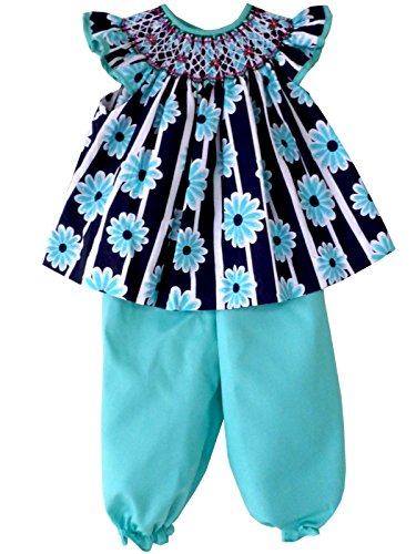 Carouselwear Girls Spring Summer Smocked Blue Dress With Turquoise Pants by Carouselwear (Image #2)