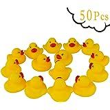 Guaren us 50-Pieces Float & Squeak Mini Rubber Duck Baby Bath Ducky Sound Shower Toys for Kids