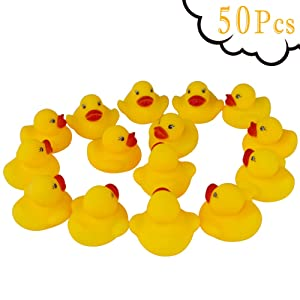 Guaren us 50-Pieces Float & Squeak Mini Rubber Duck Baby Bath Ducky Sound Shower Toys for Kids