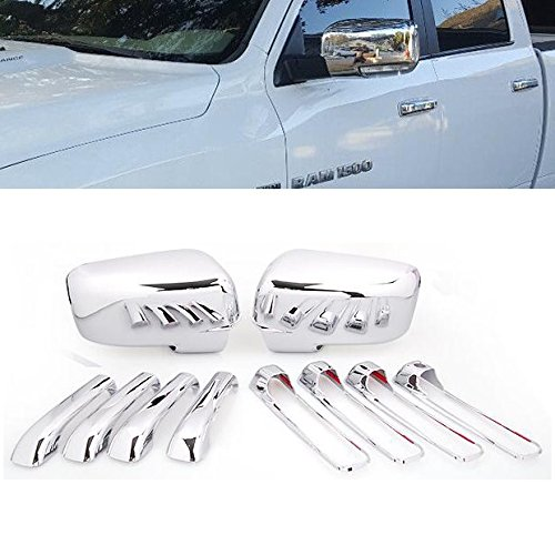 Set Of Chrome Plated ABS Side Door Handle + Mirror Cover Trim Fit Dodge Ram 1500 2500 3500 2009-2012