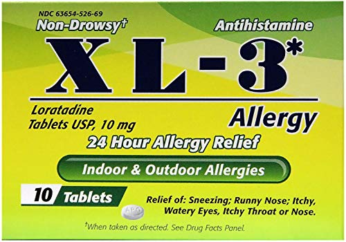 XL-3 Allergy Medicine | 24 Hour Relief from Seasonal Allergies, Non-Drowsy Allergy Medicine Relief from Sneezing, Runny Nose, or Itchy Eyes, Nose, and Throat; 10 Tablets (Best Non Drowsy Medicine For Runny Nose)