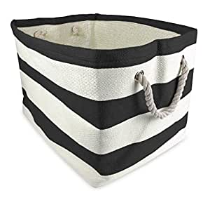 """DII Woven Paper Storage Basket or Bin, Collapsible & Convenient Home Organization Solution for Office, Bedroom, Closet, Toys, & Laundry (Medium - 15x10x12""""), Black Rugby Stripe"""