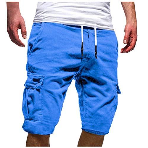 Men's Cargo Shorts Beautyfine Sport Pure Color Bandage Casual Loose Sweatpants Drawstring Pant Blue]()
